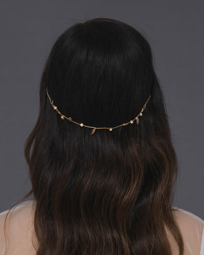 Minimalist reverse gold leaves headband with delicate gold leaves and crystals