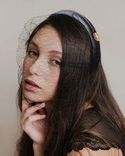 Black french veiling with grey velour headband