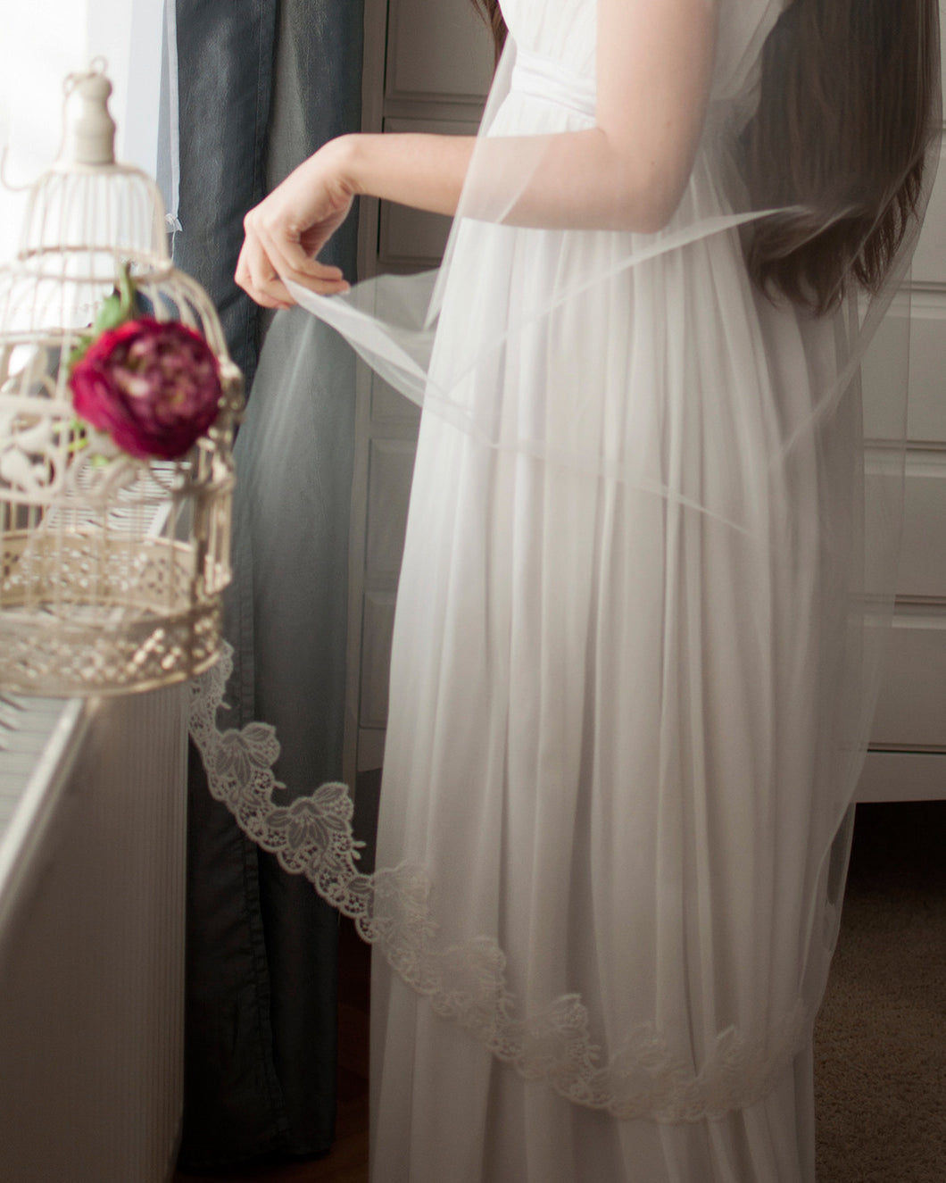 Ivory wedding lace veil with silk tulle and delicate french lace