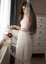 Ivory wedding tulle veil with silk tulle and delicate french lace