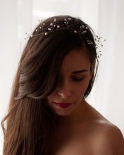 Dainty boho bridal hair vine with pearls and beaded twigs