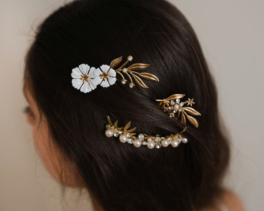 Floral hair accessories set of 3