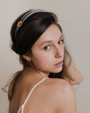 Flower velour headband in grey
