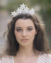 Romantic lace crown with silver lace flowers and delicate Swarovski ivory pearls