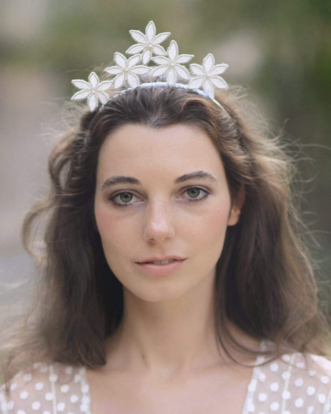 Romantic lace wedding crown with silver lace flowers and delicate Swarovski ivory pearls