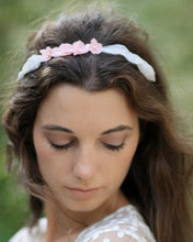 Romantic and delicate flower headband, woodland hair adornment with pink and ivory flowers