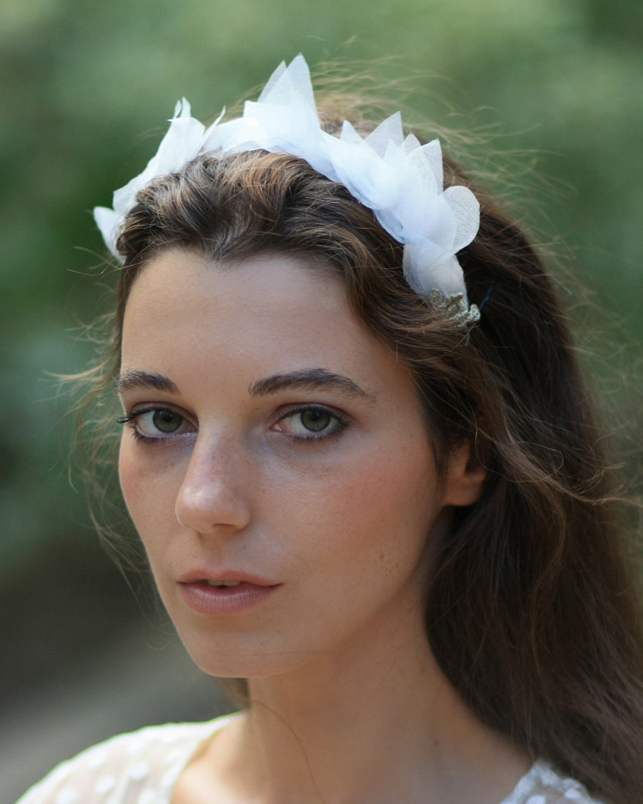 Bohemian delicate bridal headband with ivory silk leaves and golden lace flowers and crystals
