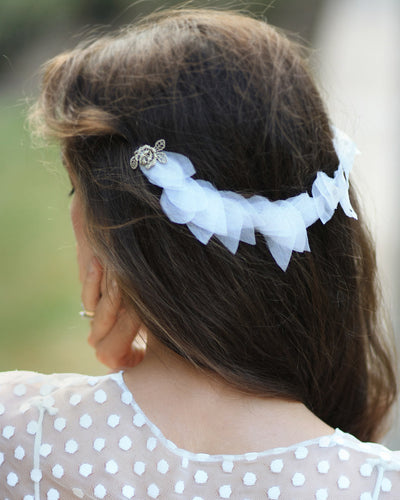 Delicate back headband with ivory silk leaves, golden lace flowers and crystals