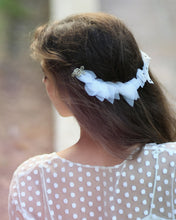 Delicate back flower headband with ivory silk leaves, golden lace flowers and crystals