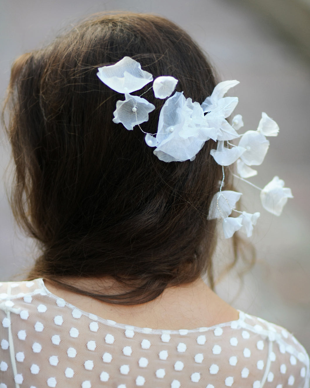 Ethereal Bridal Silk Hair Flower Comb Boho Chic Floral Hair Comb