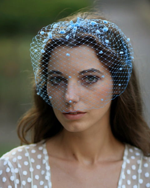 Whimsical wedding hair accessory, blue bridal birdcage veil with chenille dots
