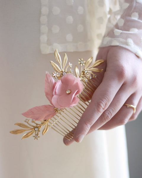 Vintage pink hair flower comb with gold branches and crystals