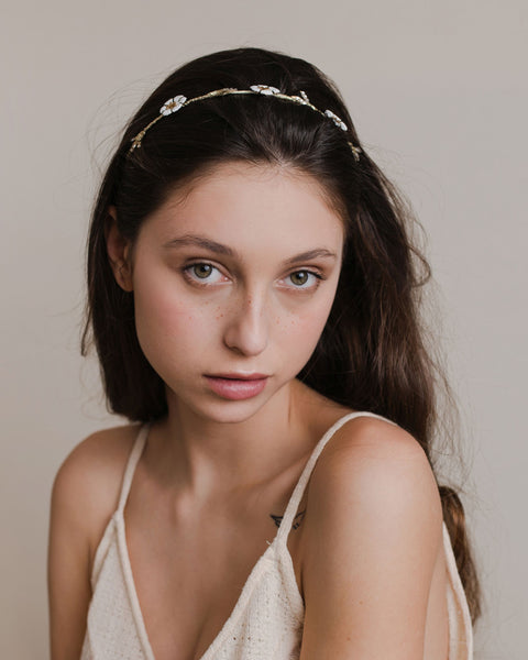 Ivory flowers headband, a petite laurel leaves hair accessory with pastel colors and crystals