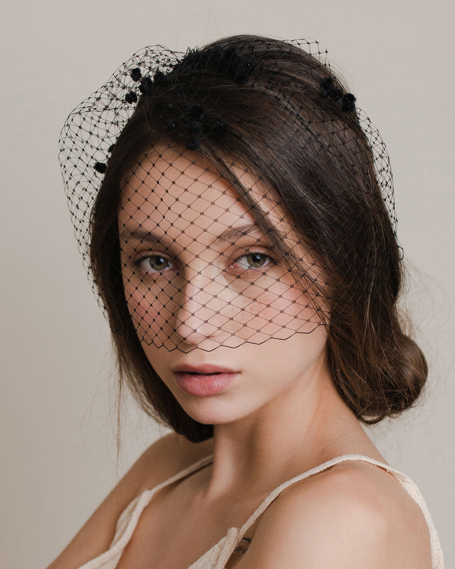 Modern black birdcage veil with chenille dots