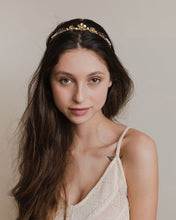 Romantic golden flower crown with birdcage veil, delicate flowers and ivory pearls