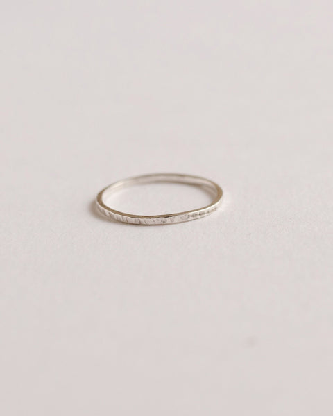 Very thin minimalist hammered stacking ring