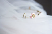 feminine bridesmaid hair accessory  leaves halo crystals pink gold flowers