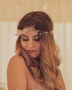 Blossom spray headpiece bridal hair vine, cherry blossom head wreath adorned with pink silk flowers and pearls