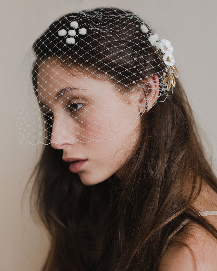 Whimsical wedding hair accessory, ivory bridal birdcage veil with chenille dots