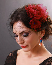 Boho flower birdcage veil with fuchsia amaranth flowers and black veil