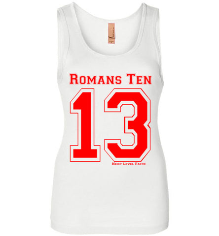 Romans 10:13 (Red) Ladies Tank