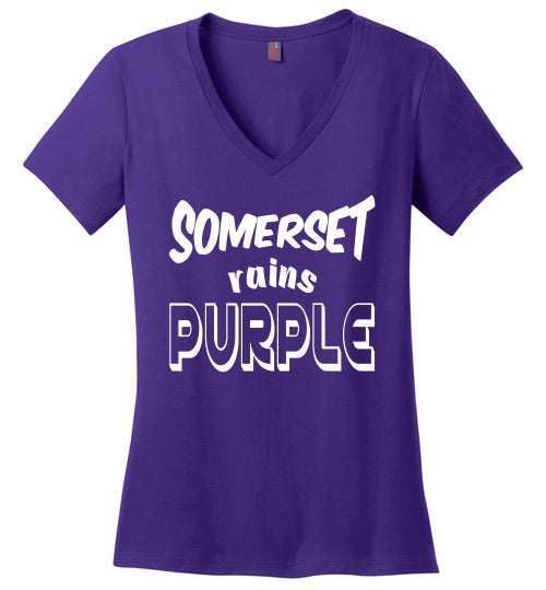 Somerset Rains Purple Ladies V-Neck