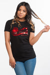 Red Metallic Film Black Tee