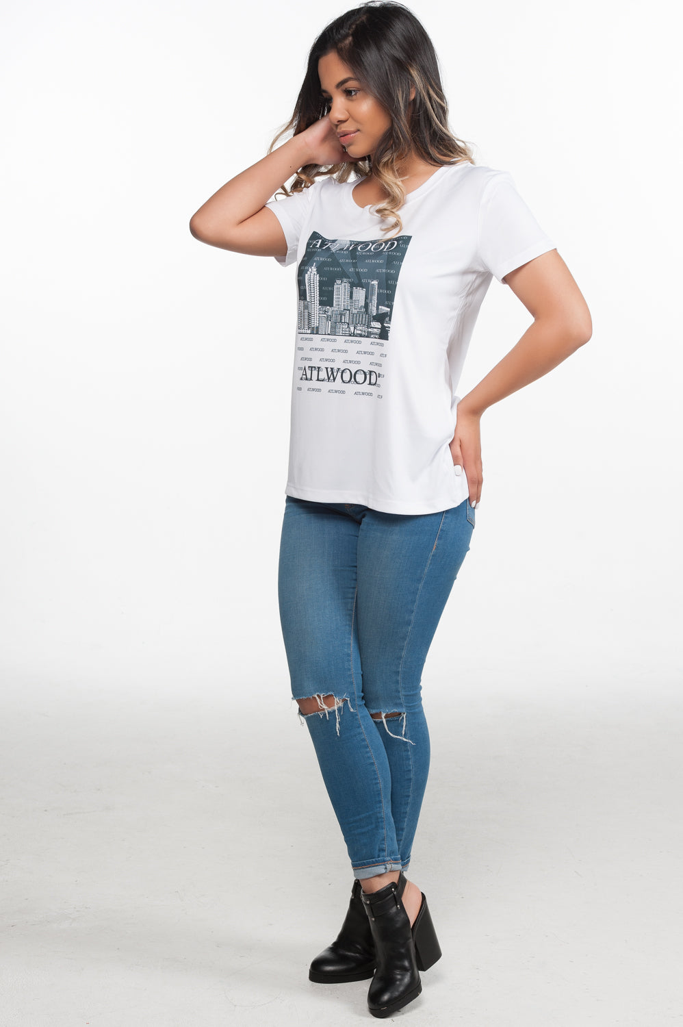 Atlanta Skyline White Tee