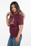 Classic Fitted Metallic ATLWOOD Film Maroon Tee