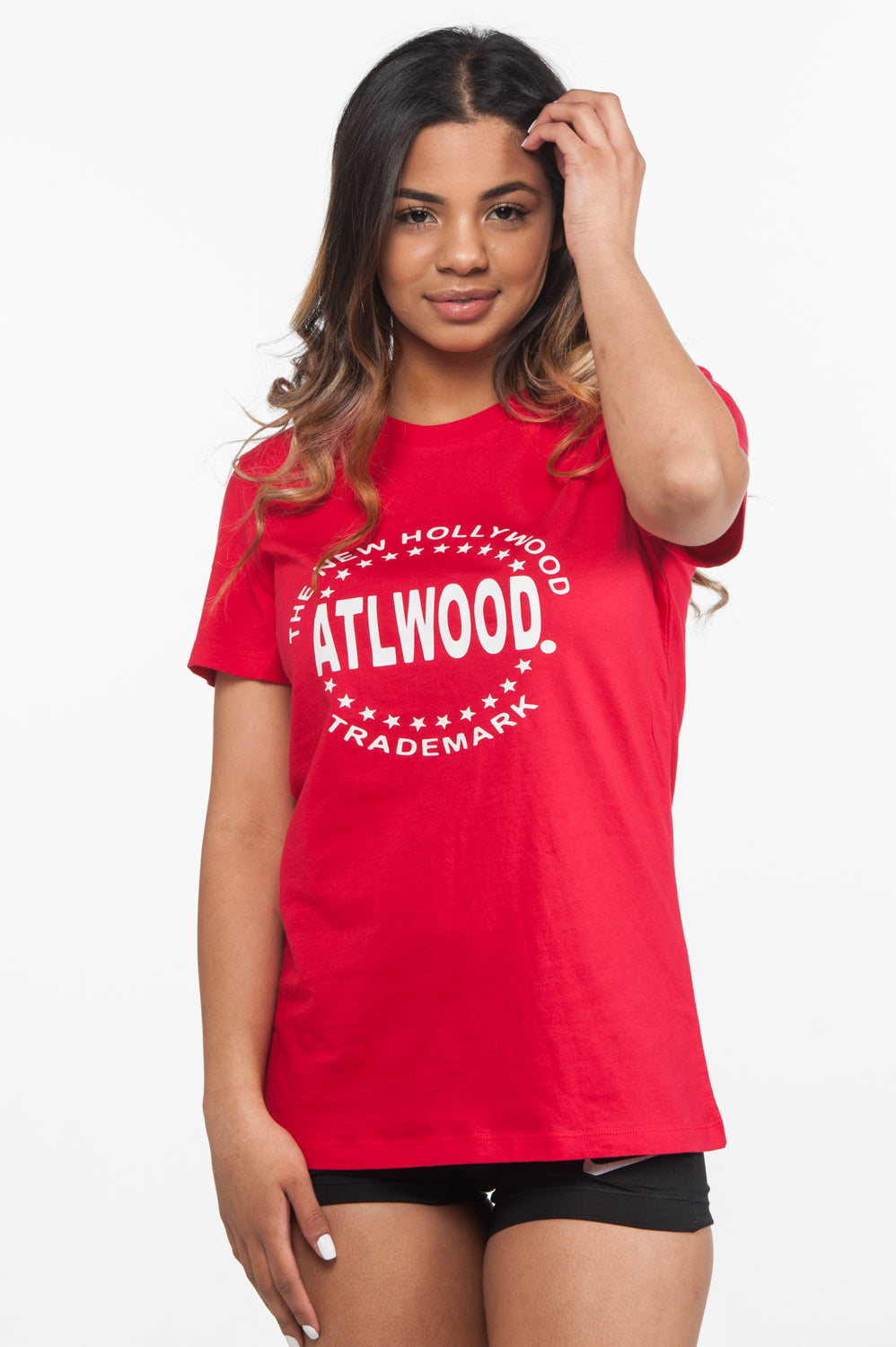 Fitted Round Logo Red Tee