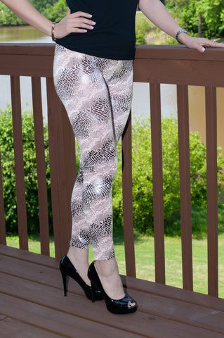 ATLWOOD Snakeskin Print Leggings (Pink)