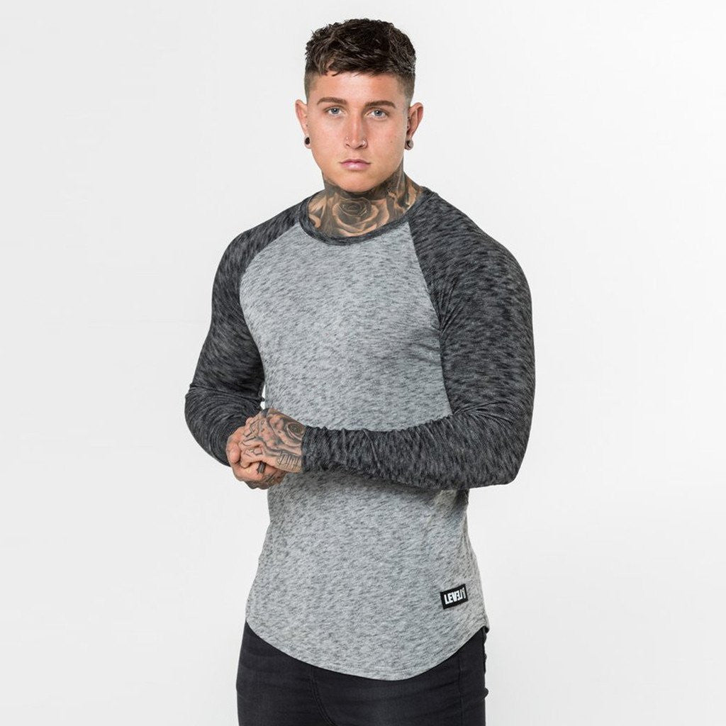 Level 1 Long Sleeve Raglan Tee in Grey Static