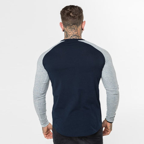 Level 1 Long Sleeve Raglan Tee in blue and grey