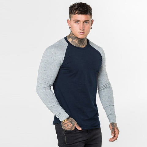 Level 1 Long Sleeve Raglan Tee in Navy Grey