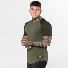 Level 1 Short Sleeve Raglan Tee in Khaki Speckle