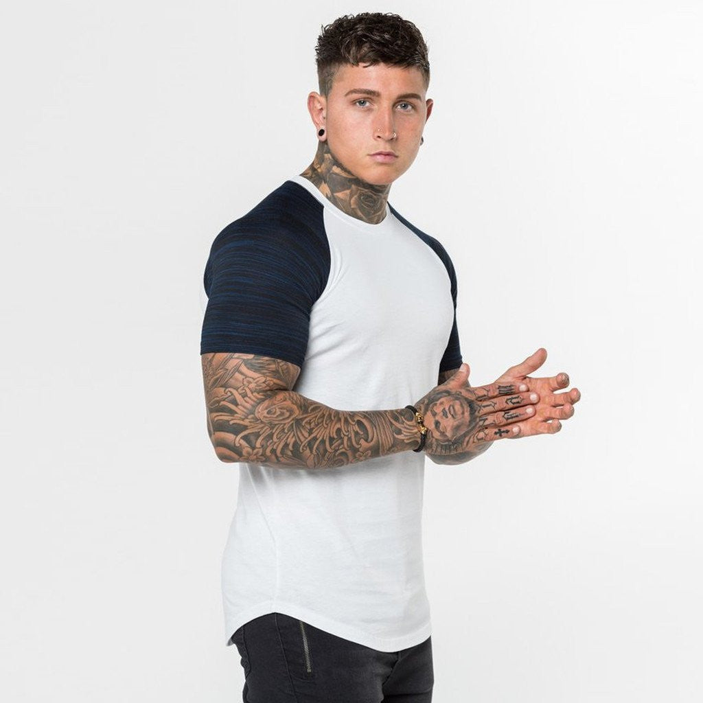 Level 1 Short Sleeve Raglan Tee in Navy Strobe