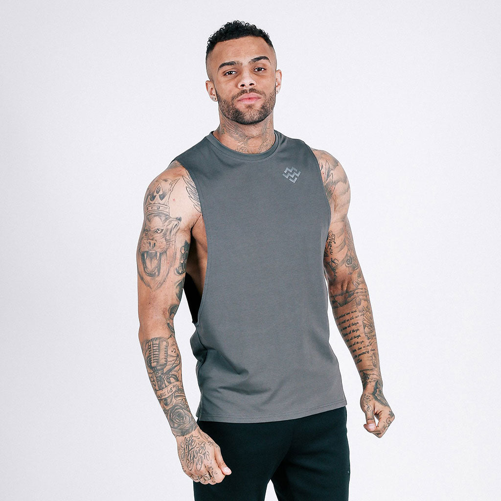 ada3da34 Machine Fitness - Flow Cut-Off Tee - Dark Grey – Muscle and Style