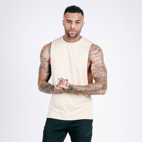 machine fitness Flow Cut-Off Tee - Off White