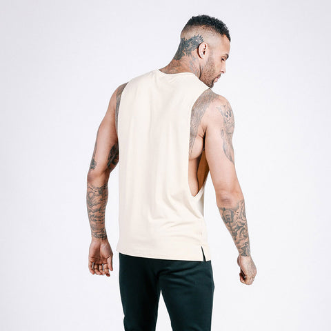 machine fitness Flow Cut-Off Tee in Off White