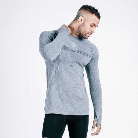 machine fitness exo-knit long sleeve tee - grey