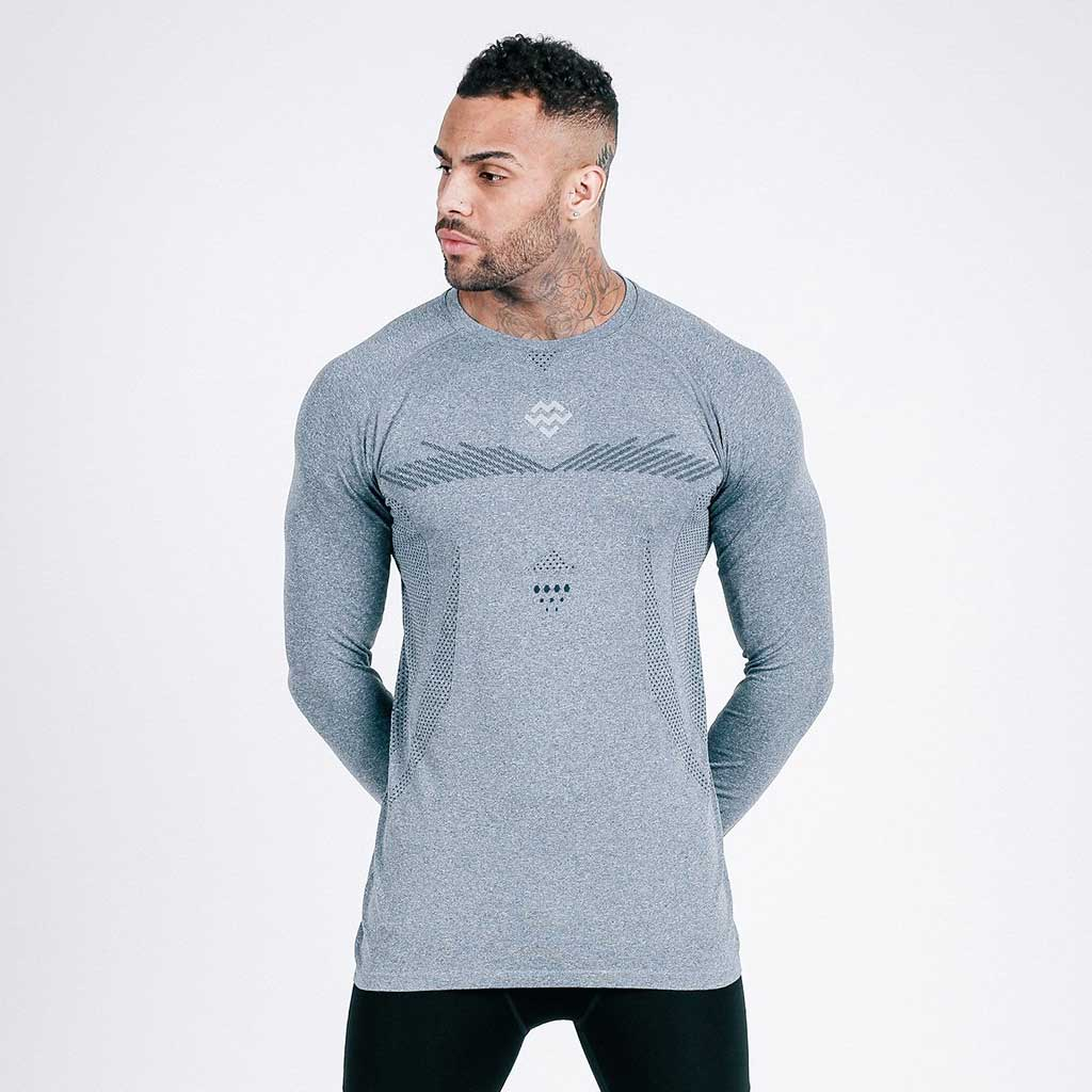 grey machine fitness exo-knit long sleeve tee