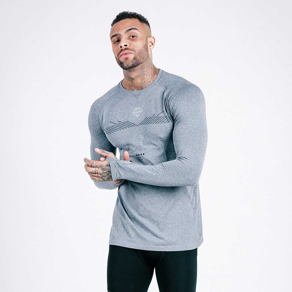 machine fitness grey exo-knit long sleeve tee