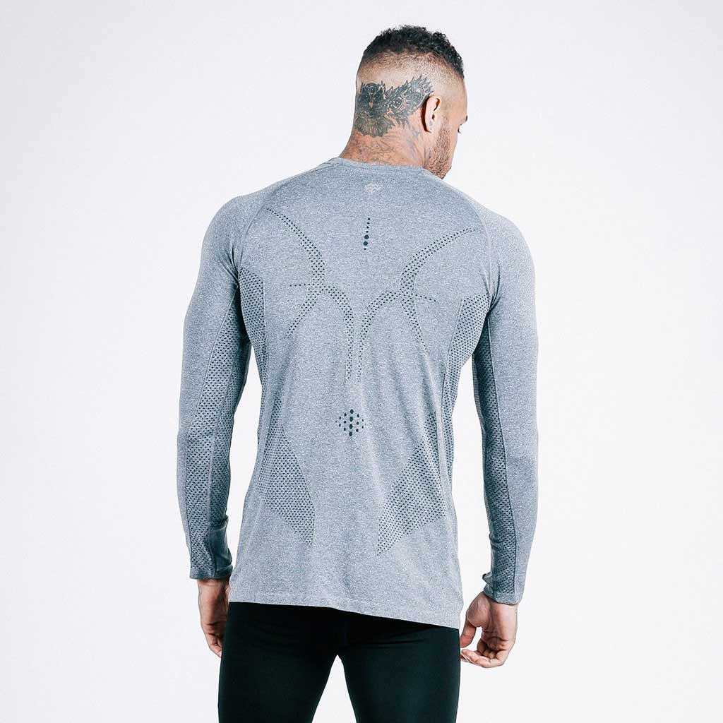 machine fitness exo-knit long sleeve tee in grey