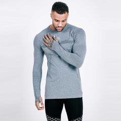 machine fitness exo-knit grey long sleeve tee