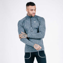 machine fitness Exo-Knit Quarter Zip Pullover - Charcoal-Black