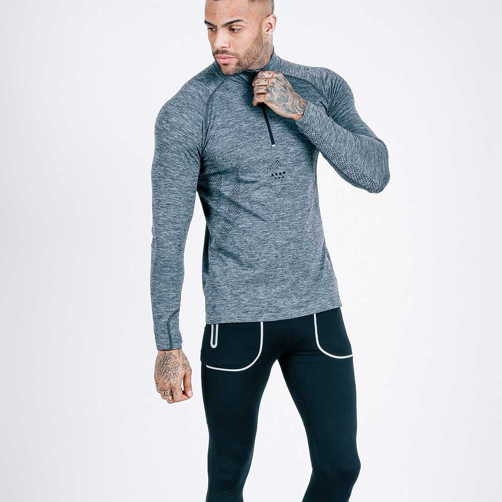 machine fitness charcoal-black Exo-Knit Quarter Zip Pullover