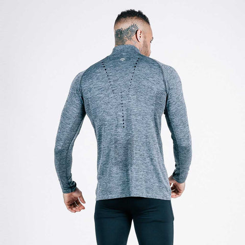 machine fitness Exo-Knit Quarter Zip Pullover in Charcoal-Black