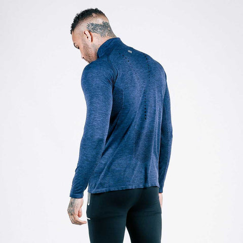 machine fitness Exo-Knit Quarter Zip Pullover in Navy