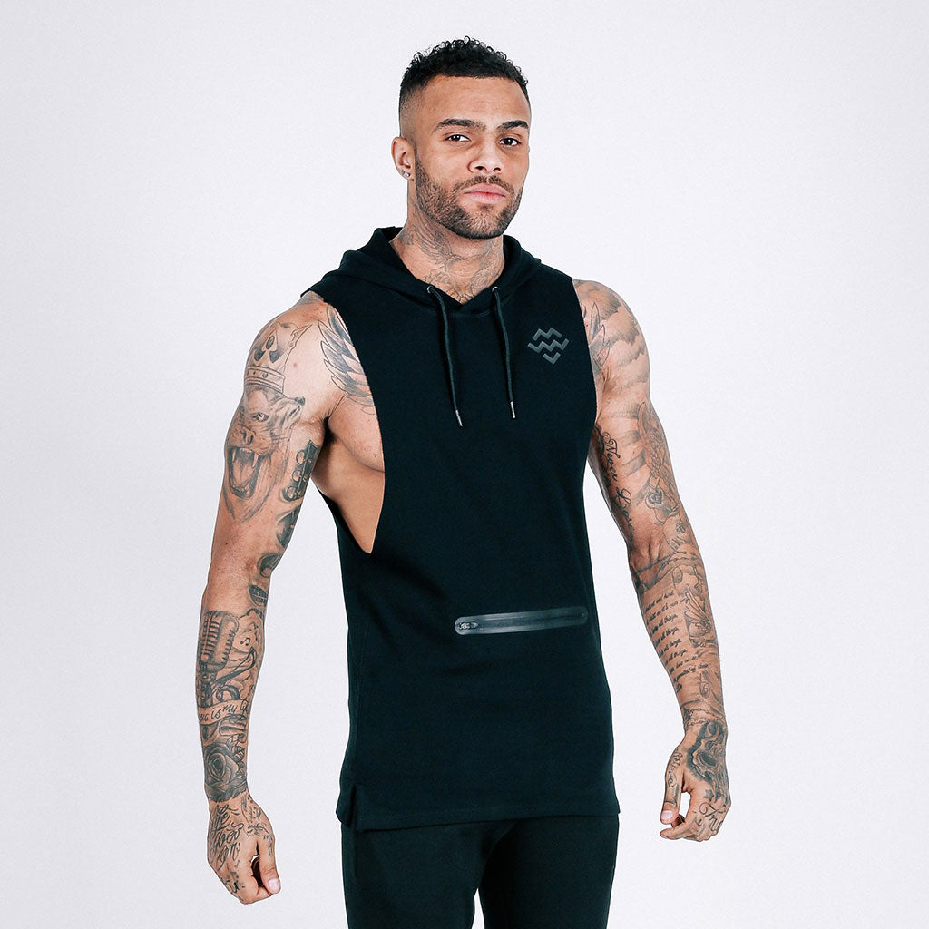 black machine fitness Flow Cut-Off Hoodie