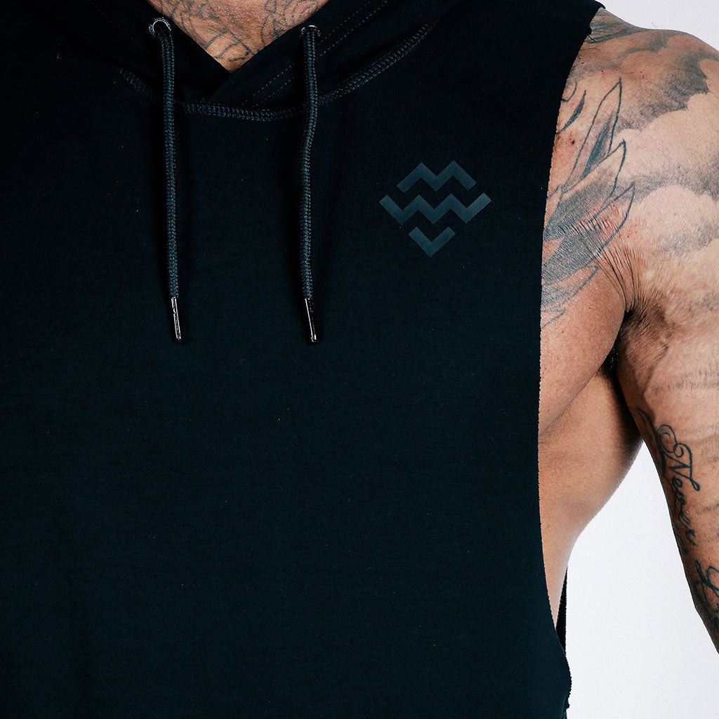 machine fitness black Flow Cut-Off Hoodie